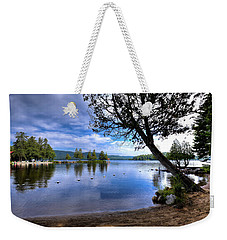 Weekender Tote Bag featuring the photograph The Beach At Covewood Lodge by David Patterson
