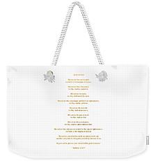 Weekender Tote Bag featuring the digital art The Beatitudes Gospel Of Matthew by Rose Santuci-Sofranko