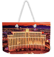 The Bellagio Fountains After Sunset Portrait Weekender Tote Bag by Aloha Art