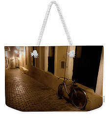 Weekender Tote Bag featuring the photograph The Bicycle And The Brick Road by DigiArt Diaries by Vicky B Fuller