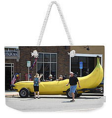 The Big Banana Car Stops By Weekender Tote Bag by Kent Lorentzen