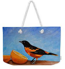 The Bird And Orange Weekender Tote Bag by Laura Forde