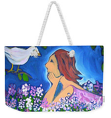 Weekender Tote Bag featuring the painting The Bird by Winsome Gunning