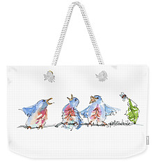 The Birds And The Bee Bird Art Watercolor Painting By Kmcelwaine Weekender Tote Bag