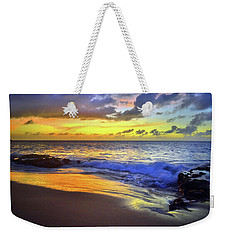 Weekender Tote Bag featuring the photograph The Blue And Gold Nights Of Molokai by Tara Turner