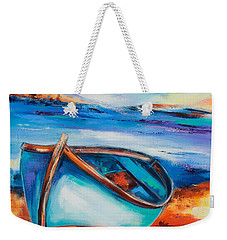Weekender Tote Bag featuring the painting The Blue Boat by Elise Palmigiani