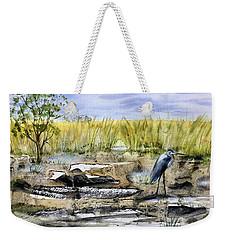 The Blue Egret Weekender Tote Bag