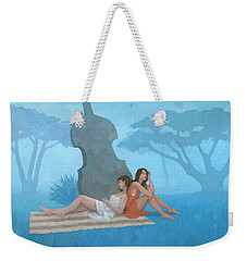 Weekender Tote Bag featuring the painting The Blue Garden by Steve Mitchell