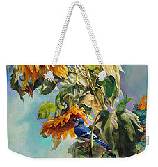 The Blue Jay Who Came To Breakfast Weekender Tote Bag by Svitozar Nenyuk