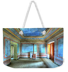 Weekender Tote Bag featuring the photograph The Blue Room Of The Villa With The Colored Rooms by Enrico Pelos