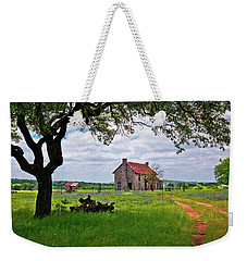 Weekender Tote Bag featuring the photograph The Bluebonnet House by Linda Unger