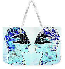 Weekender Tote Bag featuring the painting The  Blues  Brothers by Hartmut Jager