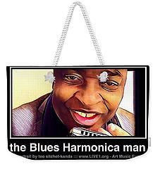 the Blues Harmonica man Weekender Tote Bag