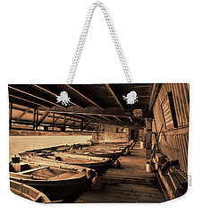 Weekender Tote Bag featuring the photograph The Boat House  by Scott Carruthers