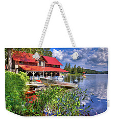 Weekender Tote Bag featuring the photograph The Boathouse At Covewood by David Patterson