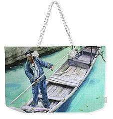 Weekender Tote Bag featuring the painting The Boatman by Kris Parins