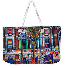 Weekender Tote Bag featuring the painting The Bonham Exchange Close Up by Patti Schermerhorn