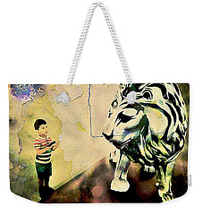 The Boy And The Lion Graffiti Creator,street-art Graffiti,street-art,graffiti Art Street,banksy Art, Weekender Tote Bag