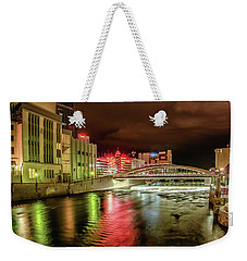 Weekender Tote Bag featuring the photograph New Bridge In Town by Janis Knight