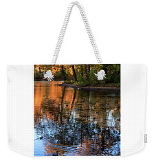 The Bright Colors Of Autumn, Quiet Evenings Are Reflected In The Waters Of The City Pond Weekender Tote Bag