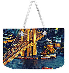 Weekender Tote Bag featuring the photograph The Brooklyn Bridge At Sunset   by Sarah Loft