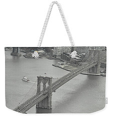 The Brooklyn Bridge From Above Weekender Tote Bag by Dyle Warren