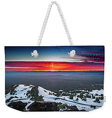 Weekender Tote Bag featuring the photograph The Burning Clouds At Crater Lake by William Lee