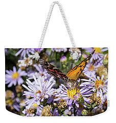 The Butterfly And Flowers Weekender Tote Bag by Steven Parker