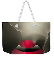 Weekender Tote Bag featuring the digital art The Button--  Something To Think About by John Krakora