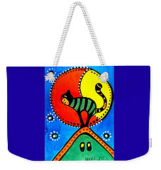 The Cat And The Moon - Cat Art By Dora Hathazi Mendes Weekender Tote Bag