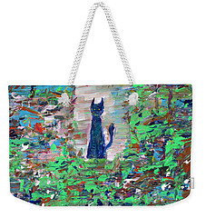Weekender Tote Bag featuring the painting The Cat In The Garden by Fabrizio Cassetta