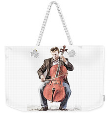 Weekender Tote Bag featuring the photograph The Cello Player In Sketch by David and Carol Kelly