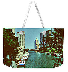 Weekender Tote Bag featuring the photograph The Chicago River by Gary Wonning