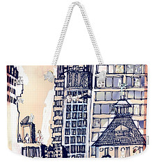 Weekender Tote Bag featuring the painting The Chrysler Building An Erotic Fantasy by Carolyn Weltman