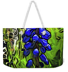 The Cobalt Blue Flowers And The Long Green Grass Weekender Tote Bag