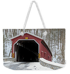 The Colemansville Covered Bridge In Winter Weekender Tote Bag
