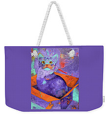 The Color Purrrple Weekender Tote Bag by Nancy Jolley