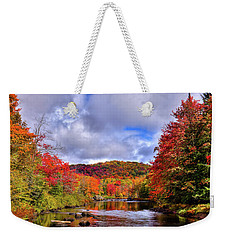Weekender Tote Bag featuring the photograph The Colors Of Fall On The Moose River by David Patterson