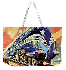 The Coronation Scot - Vintage Blue Locomotive Train - Vintage Travel Advertising Poster Weekender Tote Bag