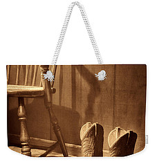The Cowgirl Boots And The Old Chair Weekender Tote Bag by American West Legend By Olivier Le Queinec