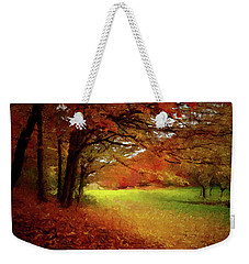 Weekender Tote Bag featuring the painting The Crimson Season P D P by David Dehner