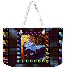 Weekender Tote Bag featuring the sculpture The Crystal Shell - Illuminated by Shawn Dall