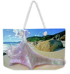 Weekender Tote Bag featuring the sculpture The Crystalline Rainbow Shell Sculpture by Shawn Dall