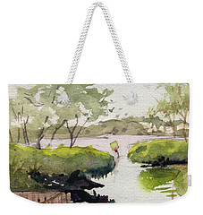 Weekender Tote Bag featuring the painting The Cut by Kris Parins