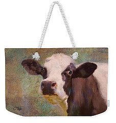 Weekender Tote Bag featuring the mixed media The Dairy Queen by Colleen Taylor