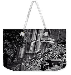 The Dam Picnic Table In Black And White Weekender Tote Bag