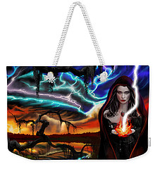 Weekender Tote Bag featuring the painting The Dark Caster Calls The Storm by James Christopher Hill