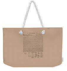 The Declaration Of Independence Weekender Tote Bag by War Is Hell Store