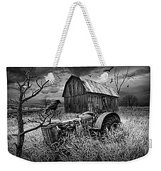 Weekender Tote Bag featuring the photograph The Decline And Death Of The Small Farm In Black And White by Randall Nyhof