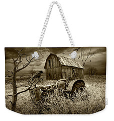 Weekender Tote Bag featuring the photograph The Decline And Death Of The Small Farm In Sepia Tone by Randall Nyhof